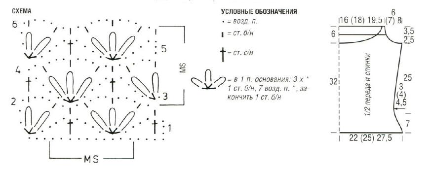 Белый топ вязыный крючком схема