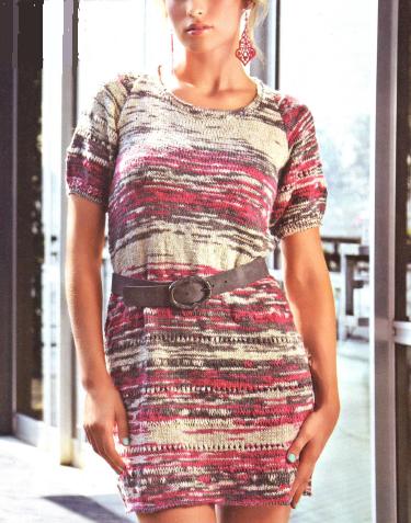 Меланжевое платье вязаное спицами