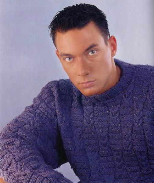 Мужской пуловер из меланевой пряжи
