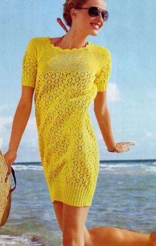 Платье - балон вязаное спицами