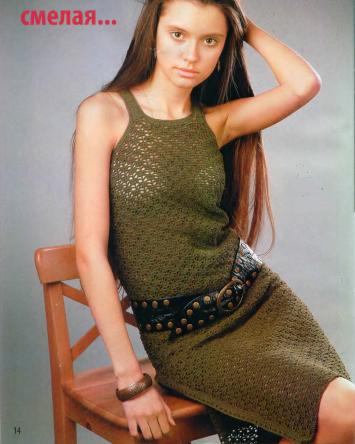 Платье с американской проймой вязаное крючком
