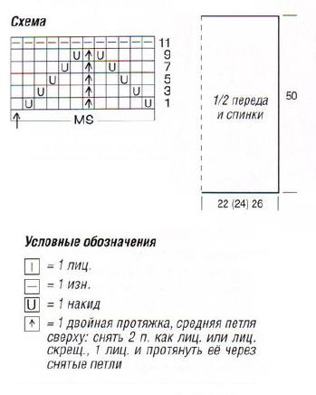 Полосатый топ вязаный спицами схема