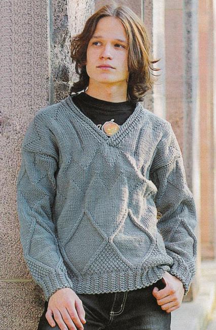 Пуловер для мальчика вязаный спицами узором ромбы