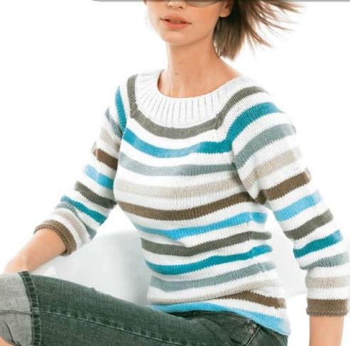 Пуловер реглан вязаный спицами