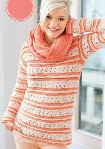 Пуловер в полоску вязаный крючком