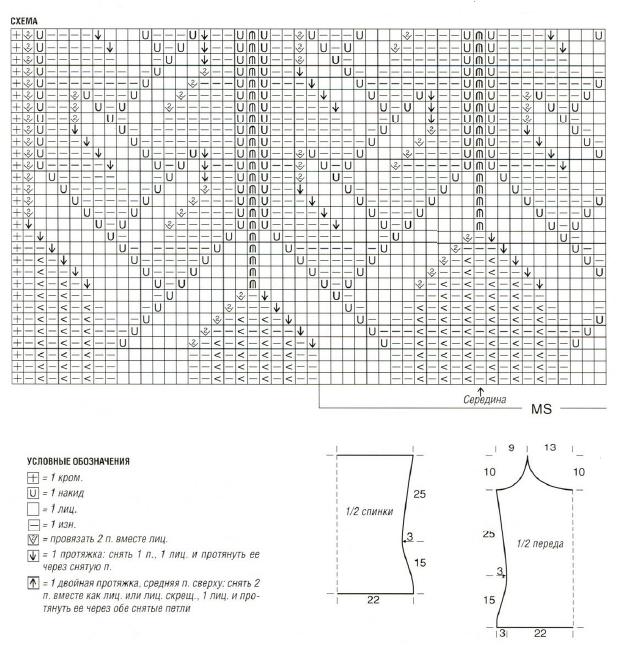 Цветной топ вязаный спицами схема