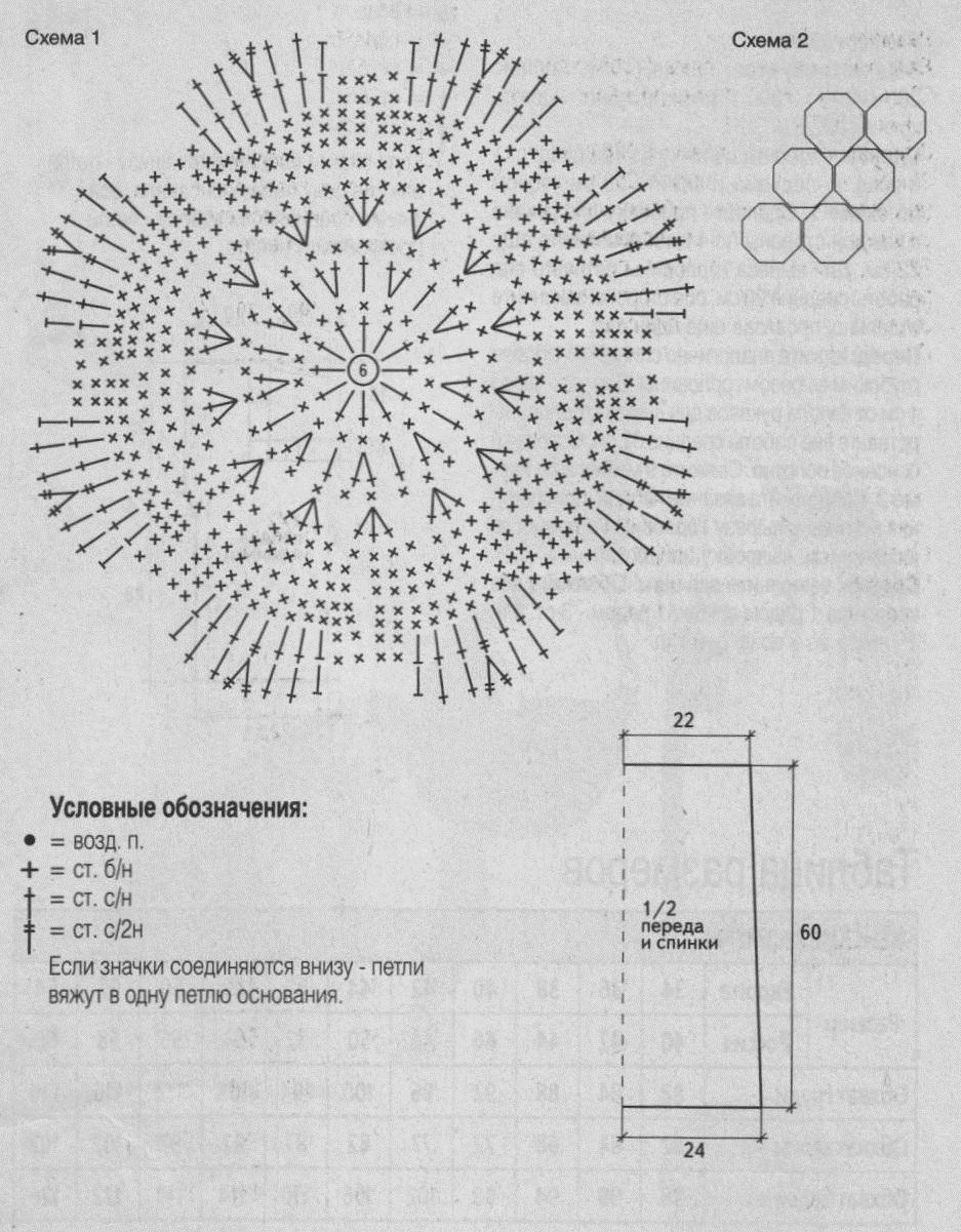 Топ из восьмиугольников вязаный крючком. схема