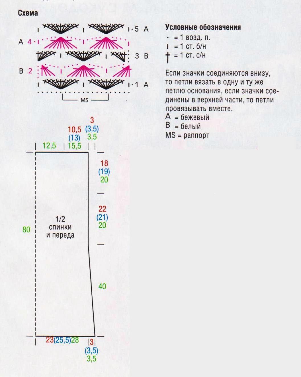 Туника с  разрезами вязаная крючком.схема