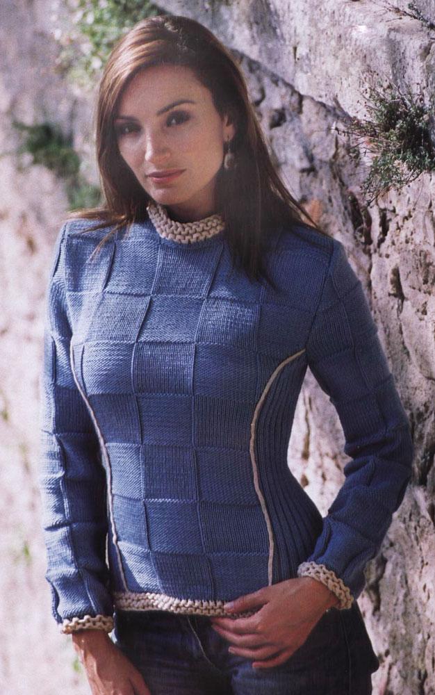 Женский пуловер крупным жемчужным узором