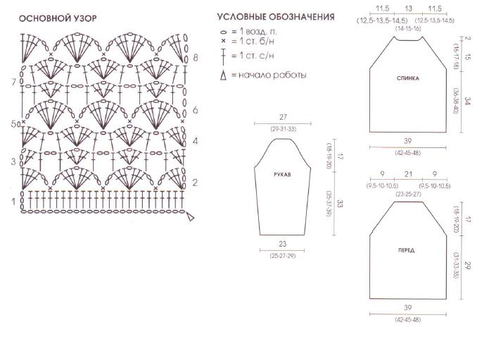 пуловер реглан вязаный крючком схема
