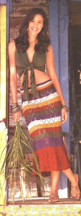 Ажурная юбка - макси вязаная спицами