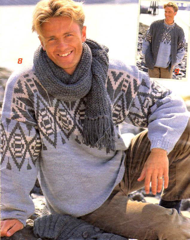 Мужской пуловер с жаккардовой вставкой