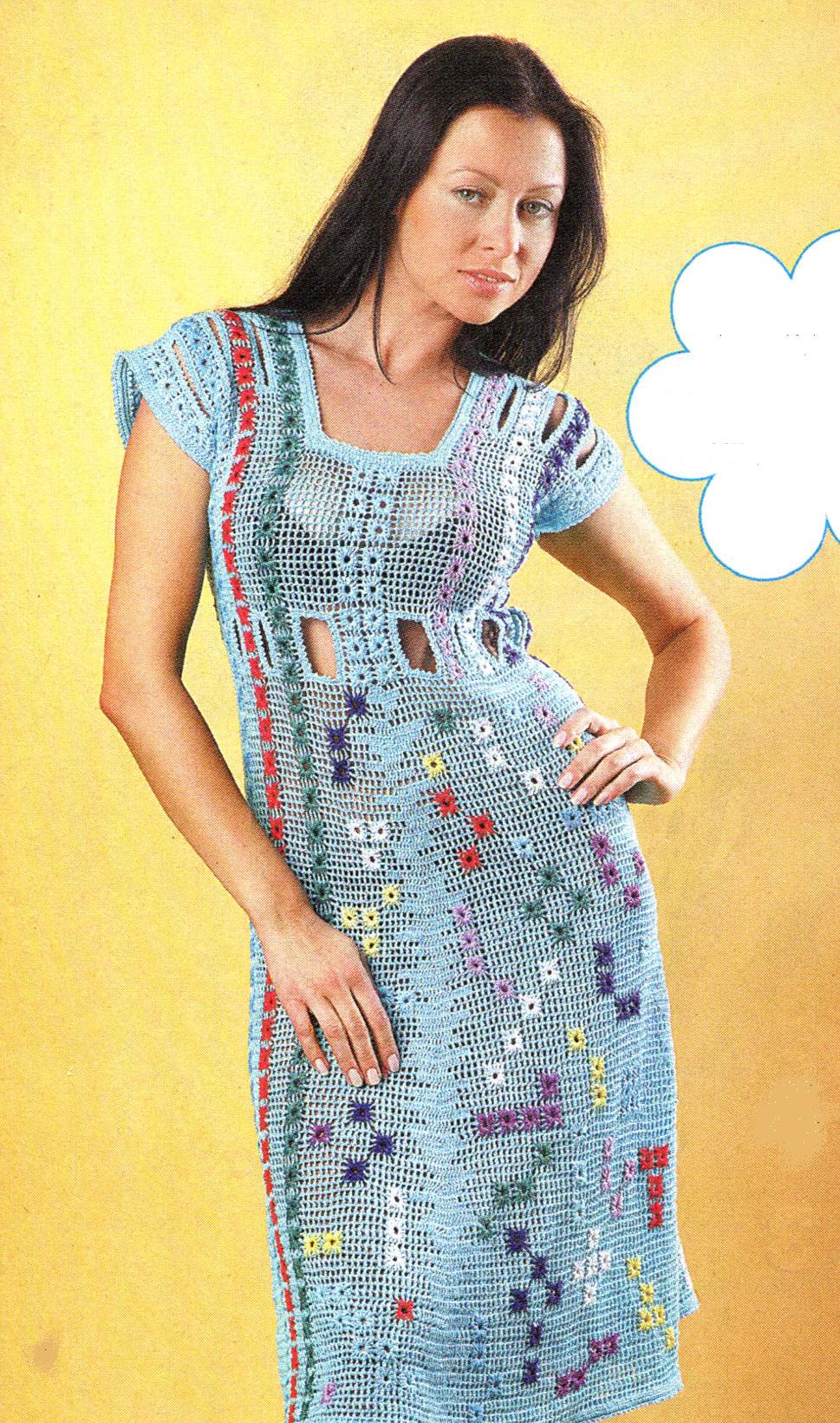 Платье с вышивкой вязаное крючком