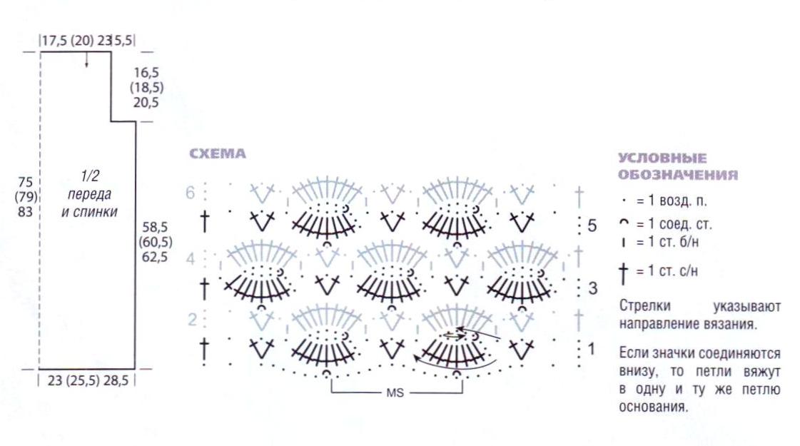 Серая ажурная туника вязаная крючком схема