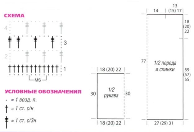 Сетчатая туника вязаная крючком схема
