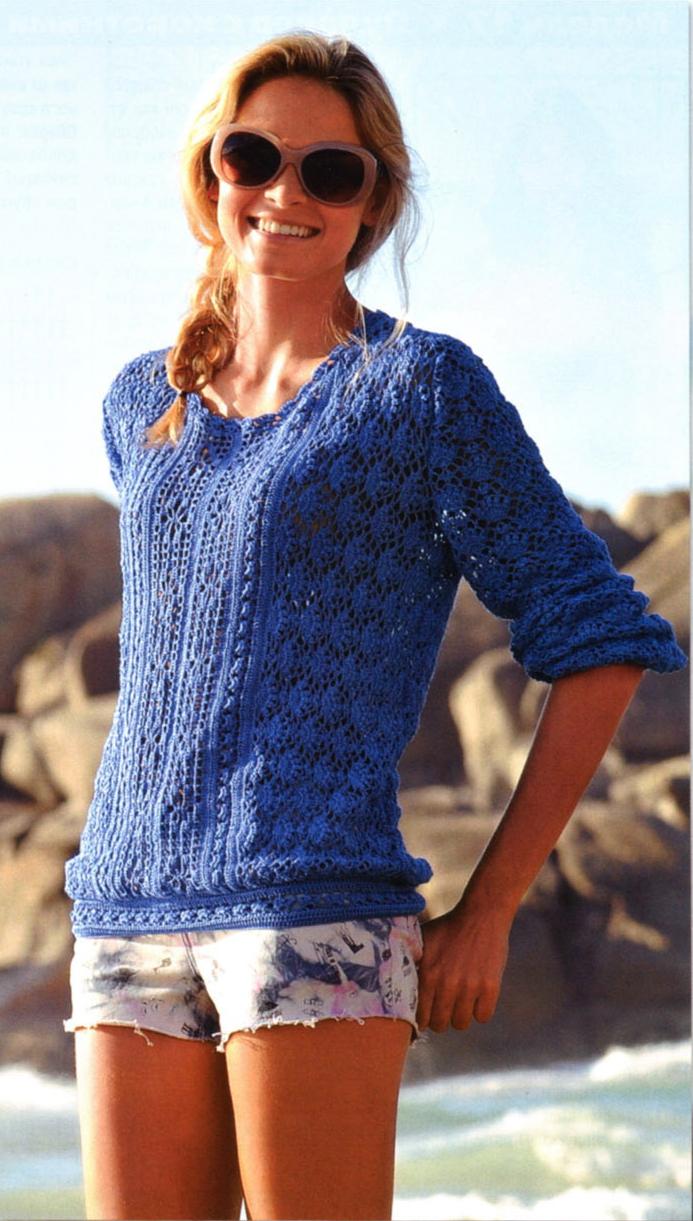Синий пуловер вязаный крючком
