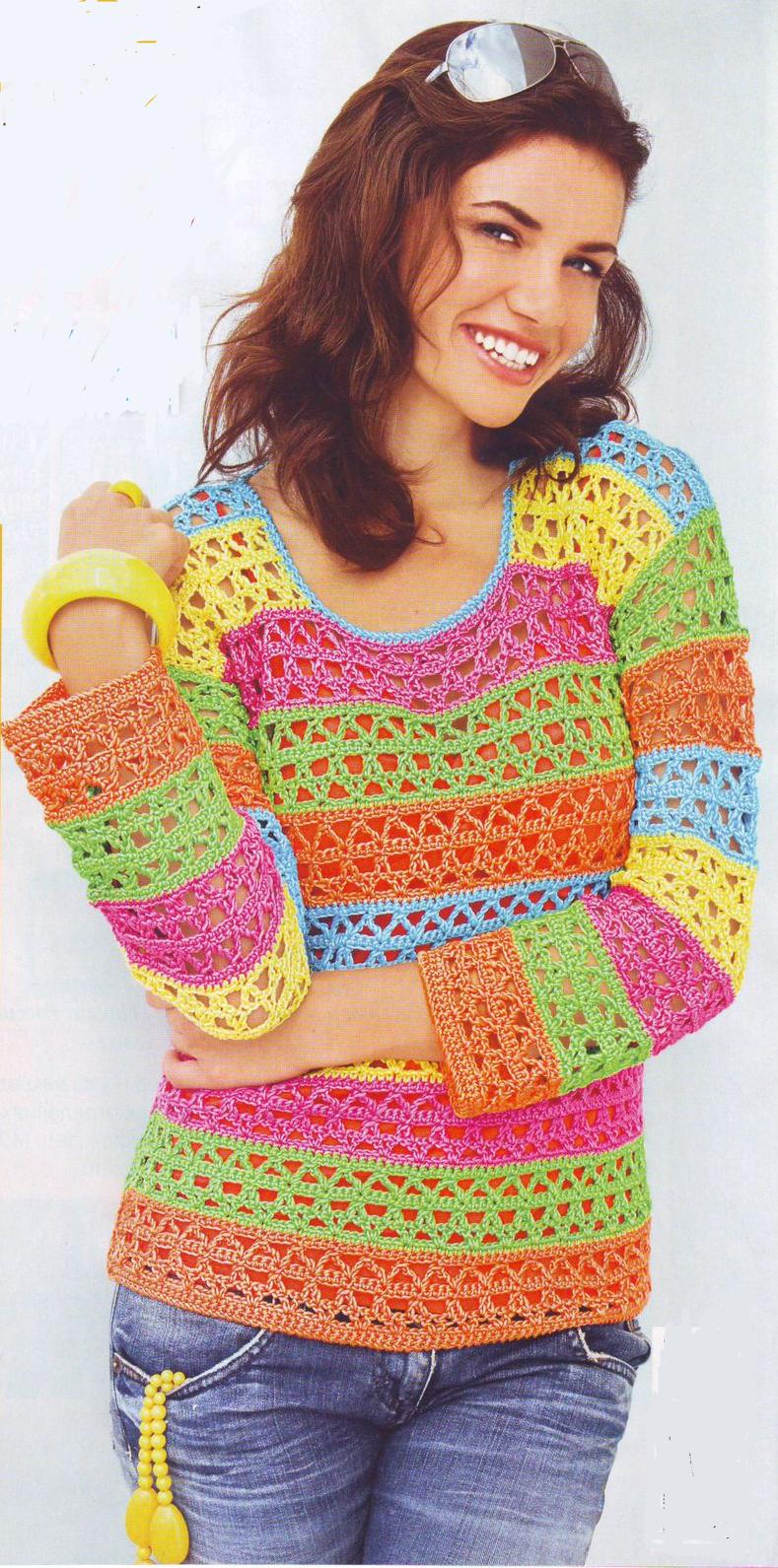 Цветной пуловер вязаный крючком