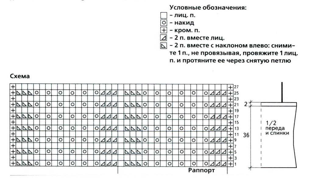 Топ  с оборками вязаный спицами схема