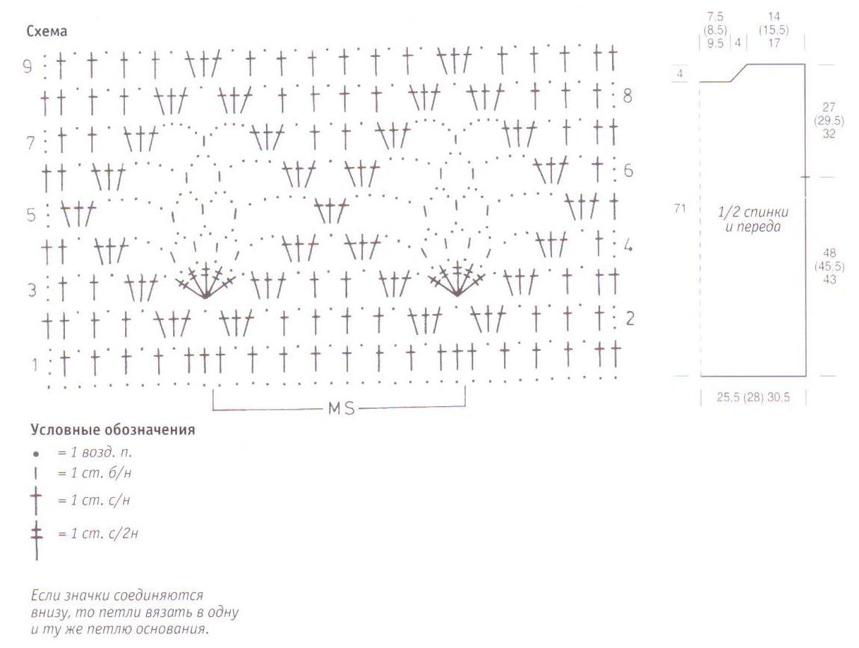Туника с  поясом вязаная крючком схема