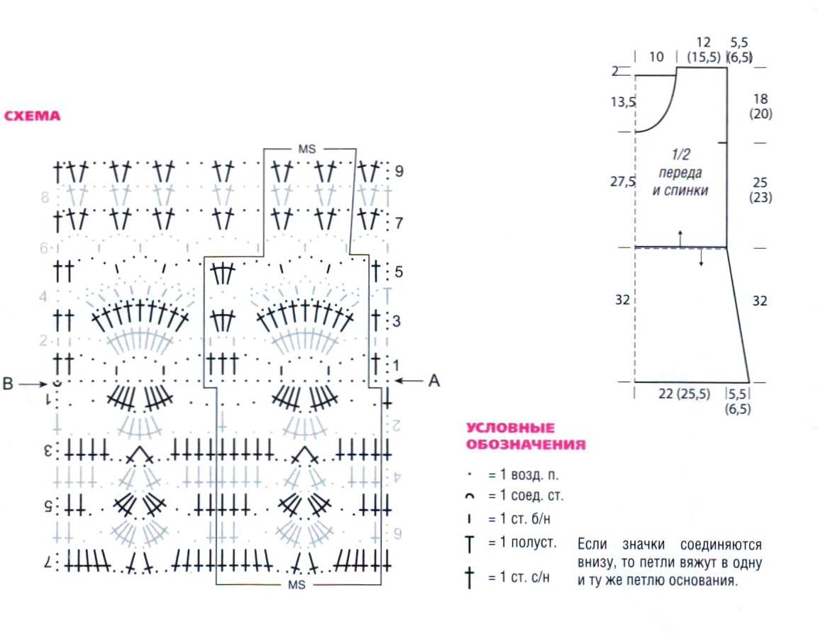 Узорчатый топ вязаный крючком схема