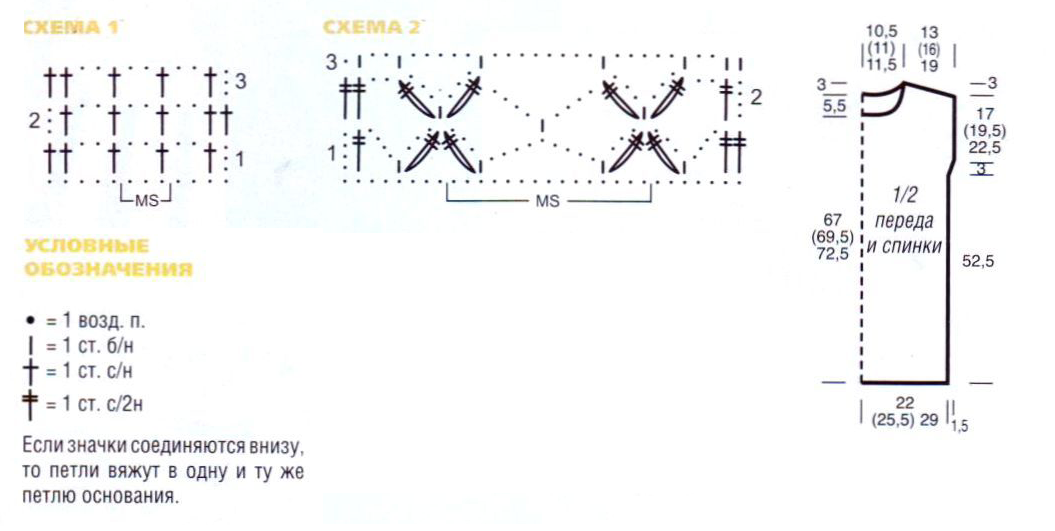 Жёлтая туника вязаная крючком схема