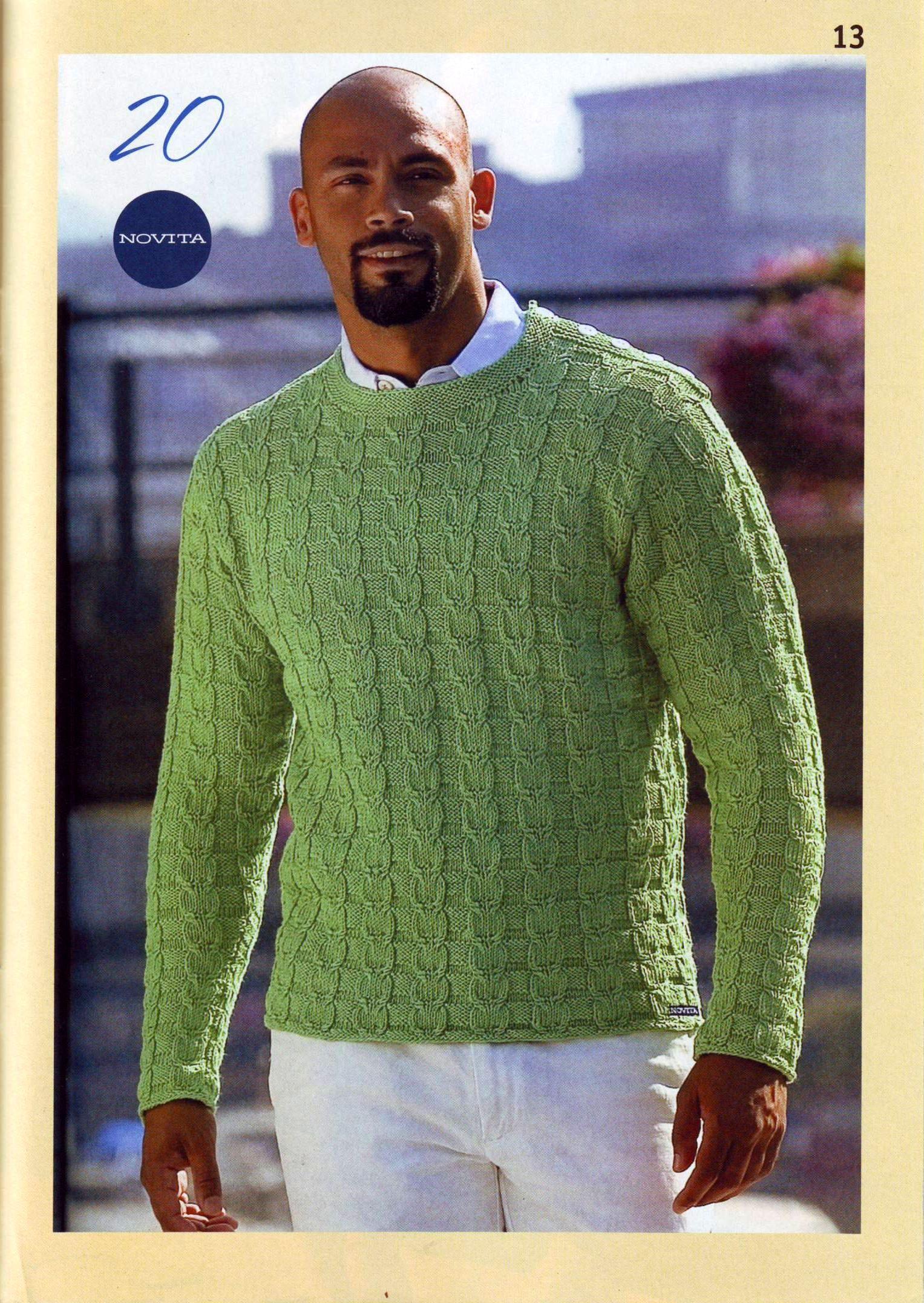 пуловер мужской вязаный спицами схема