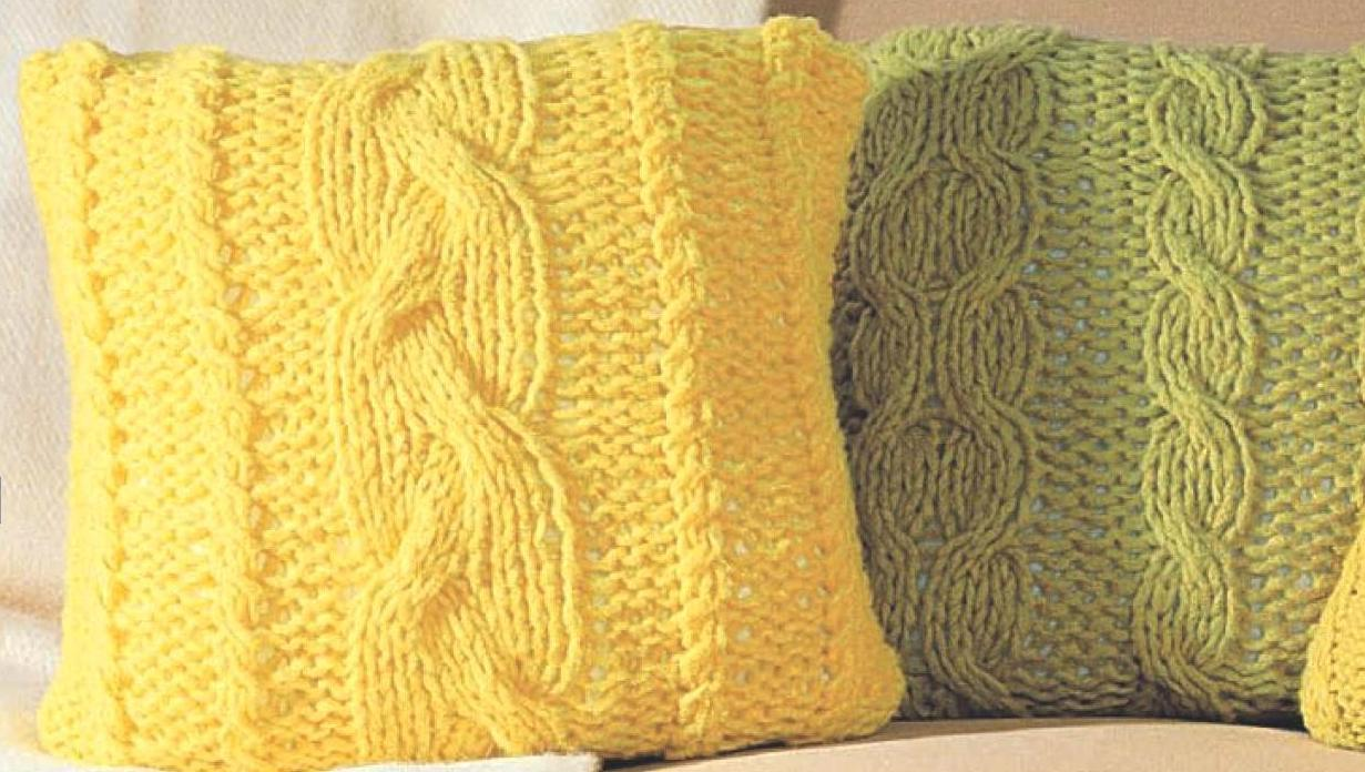 Вязаные подушки своими руками спицами