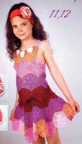 Топ и юбка из разноцветных мотивов для девочки