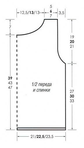 Топ с декоративными планками вязаный спицами выкройка