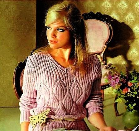 Женский пуловер с v-образным вырезом горловины