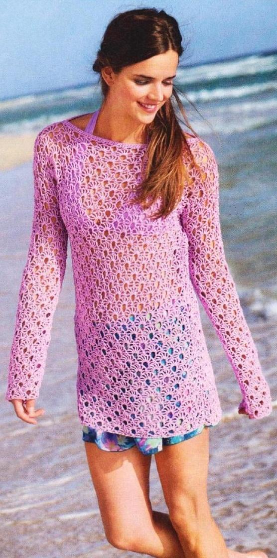 длинный кружевной пуловер вязаный крючком