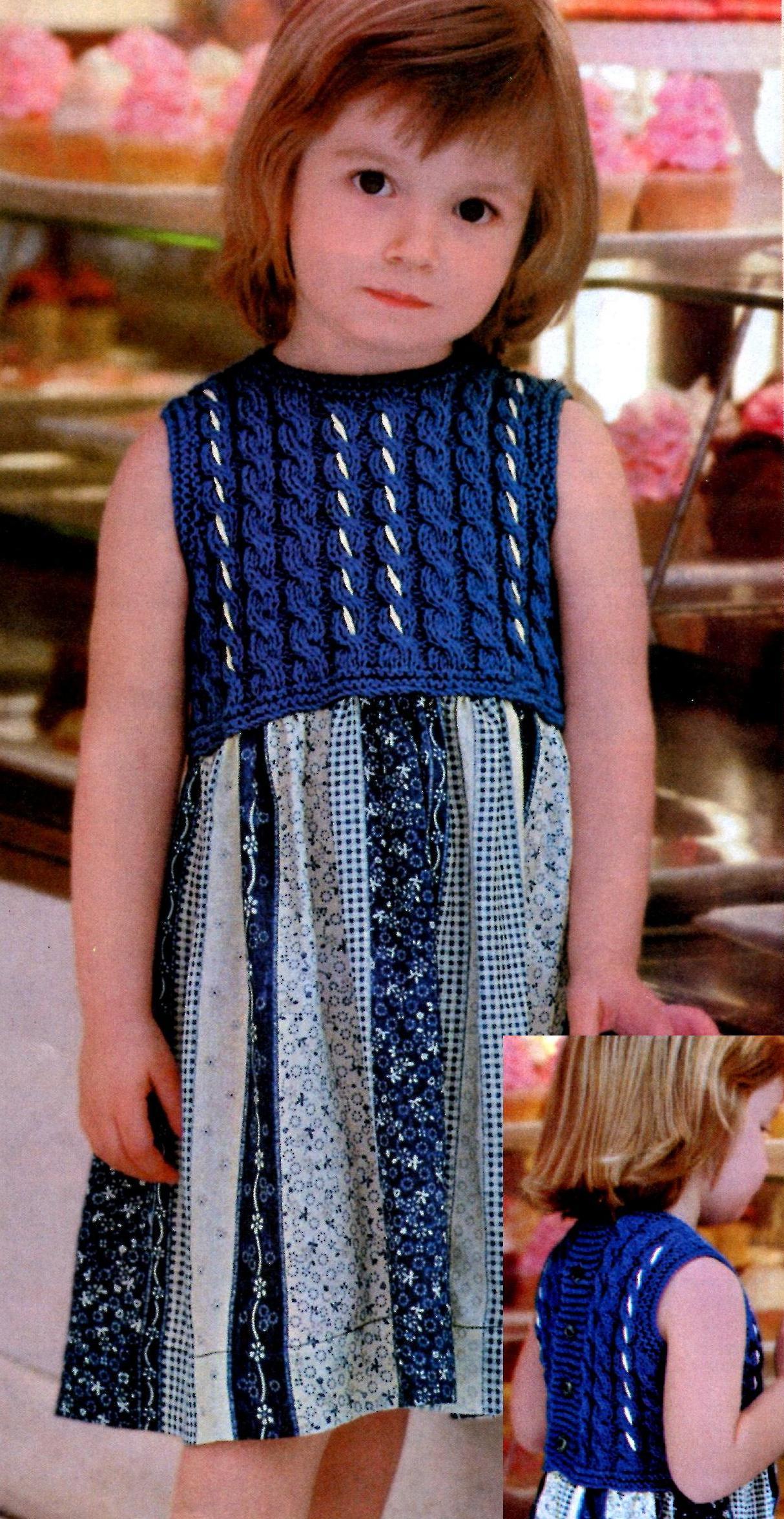 Кокетка к платьицу для девочки вязаная спицами — петелики