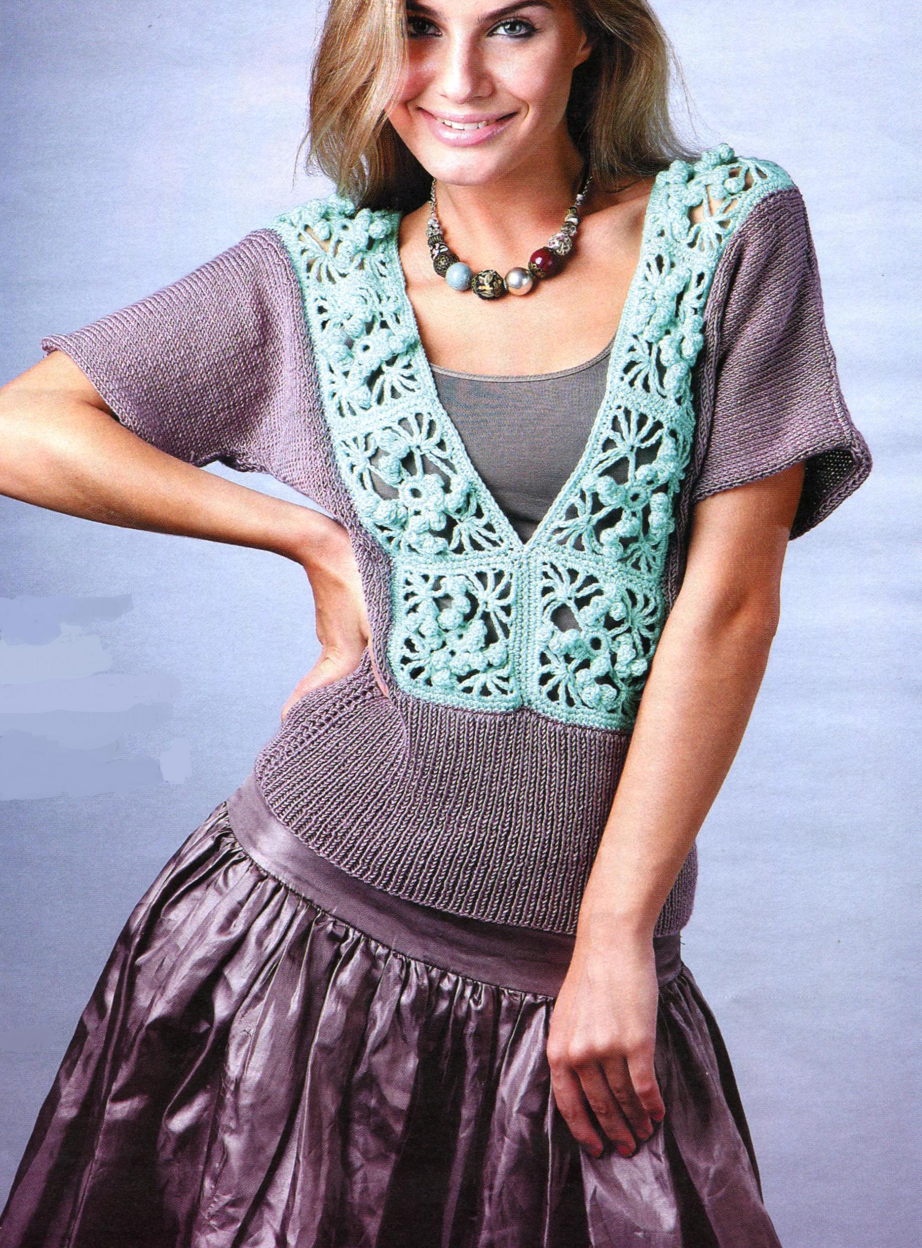 Пуловер с ажурной вставкой спицы + крючок