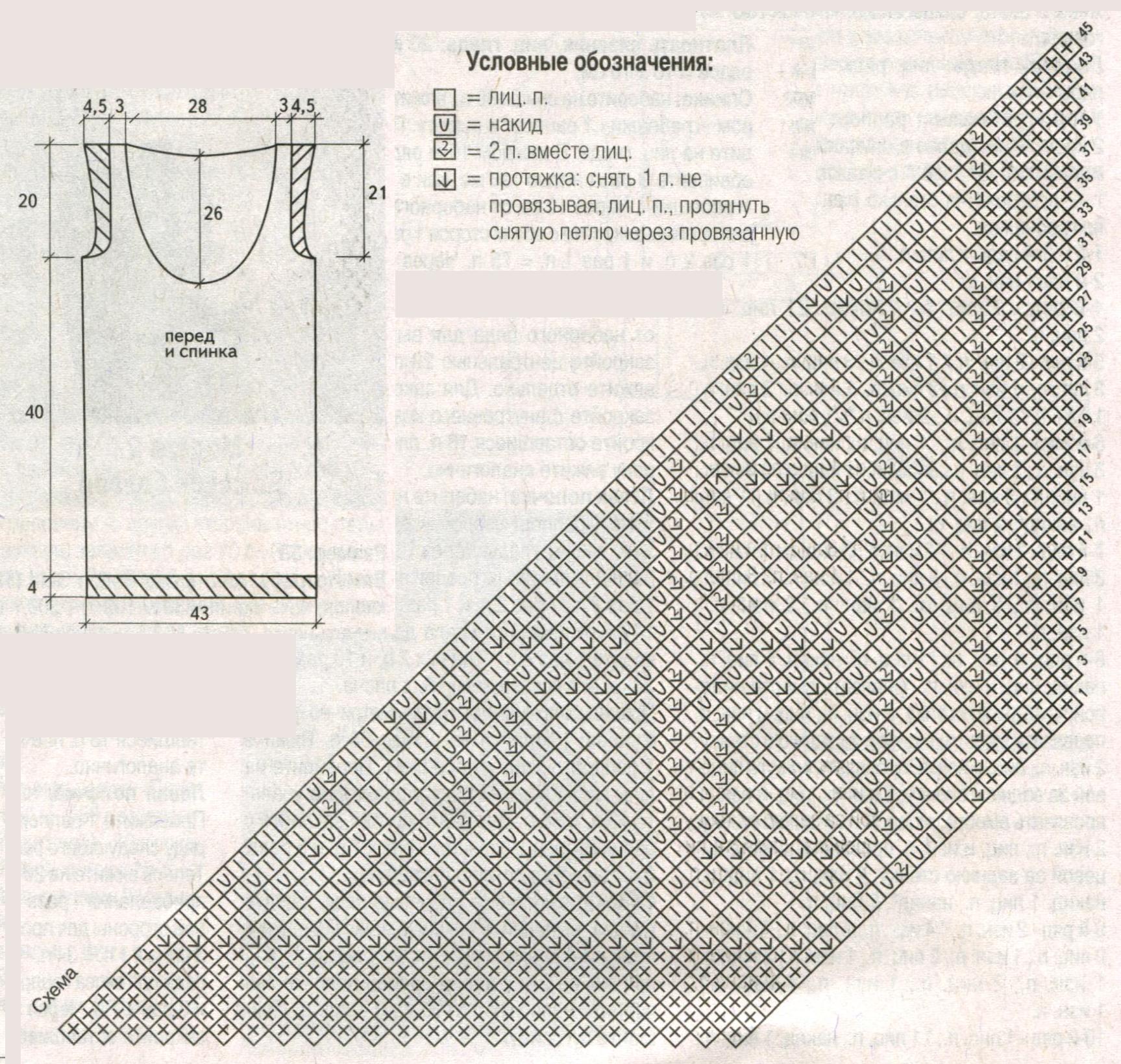 Топ с ажурным узором вязаный спицами схема