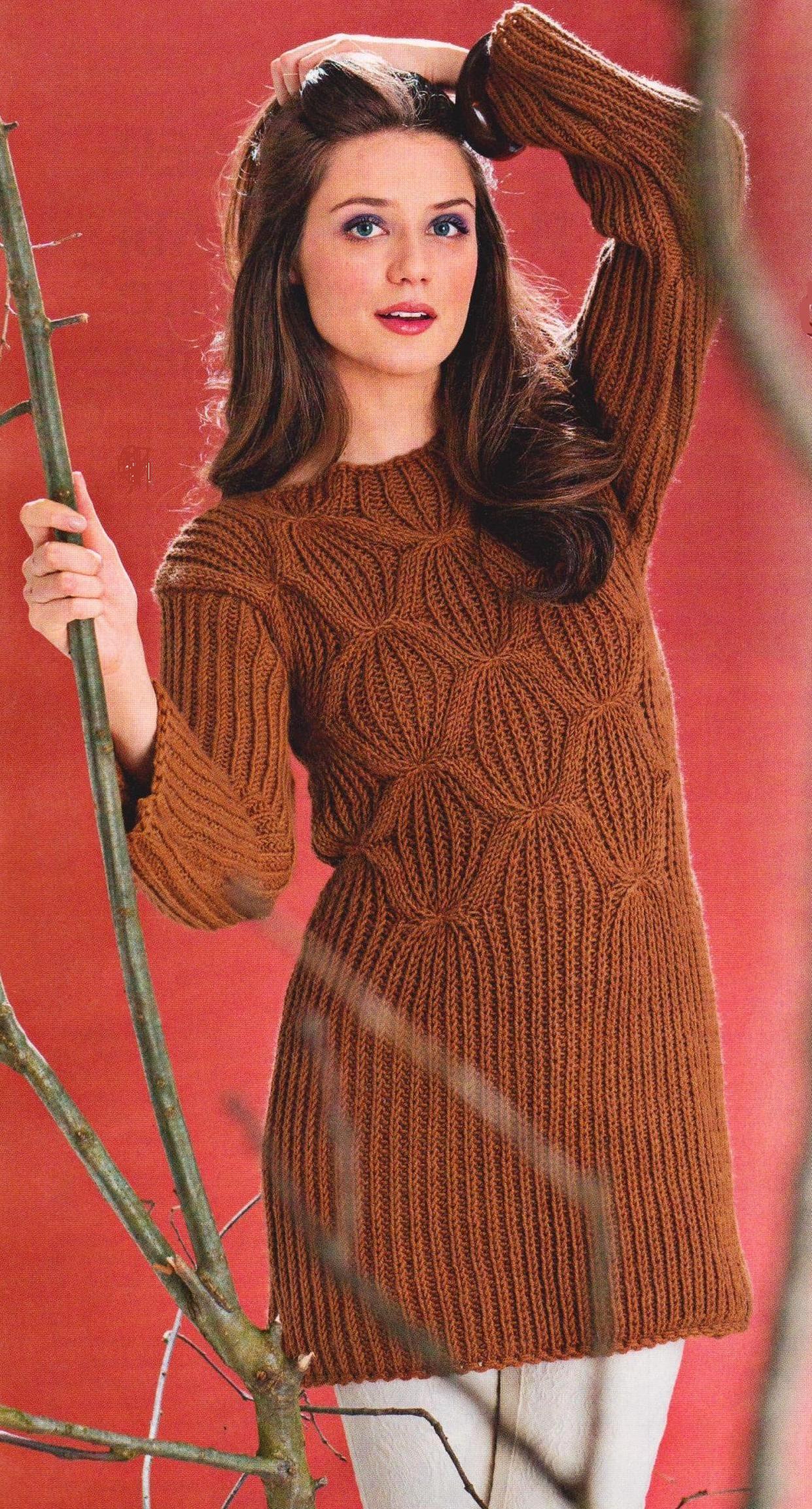 Пуловер из полупатентого узора спицами