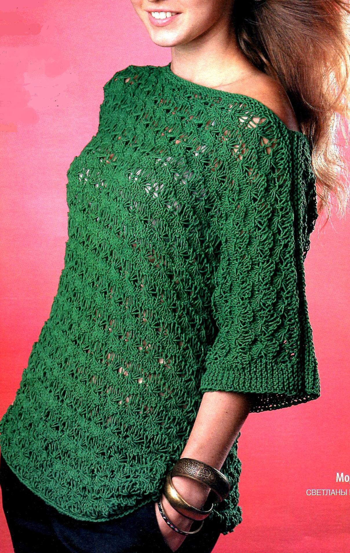 Пуловер изумрудного цвета спицами