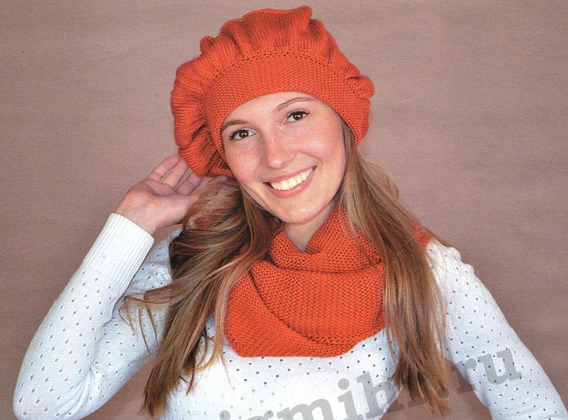 Берет и шарф вязаные спицами