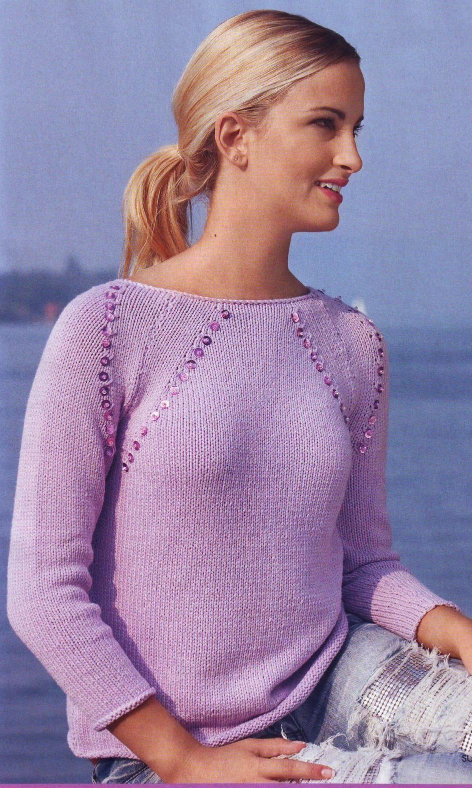 Лиловый пуловер вязаный спицами