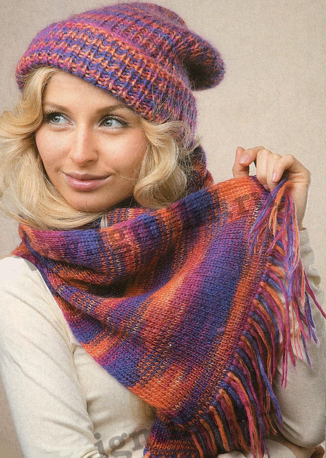 Шапка и шарф вязаные спицами