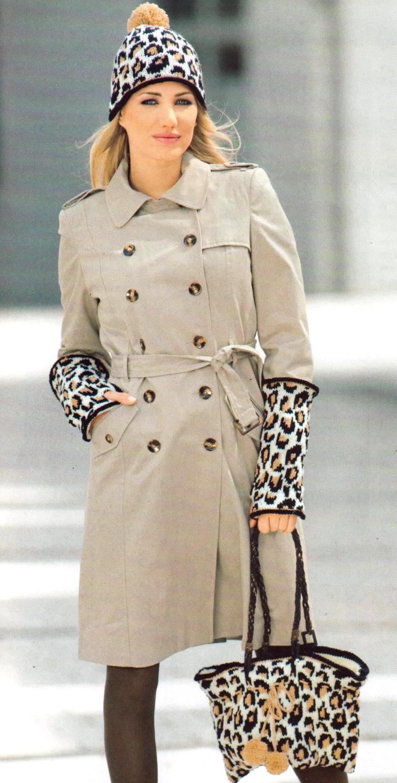 Шапка митенки и сумка с леопардовым узором вязаные спицами