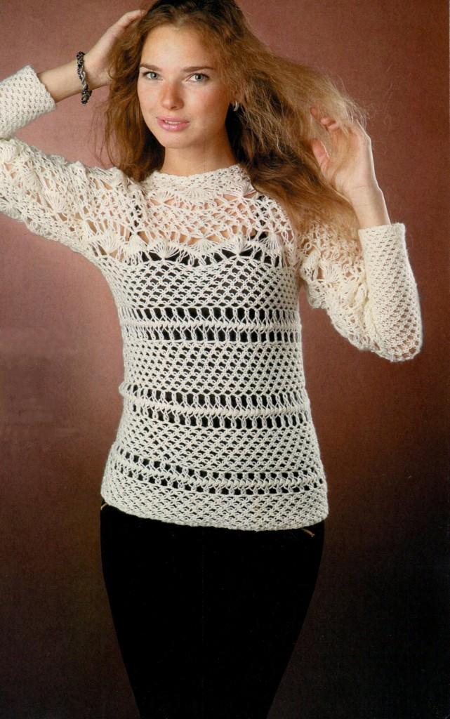 Ажурный пуловер связанный на вилке