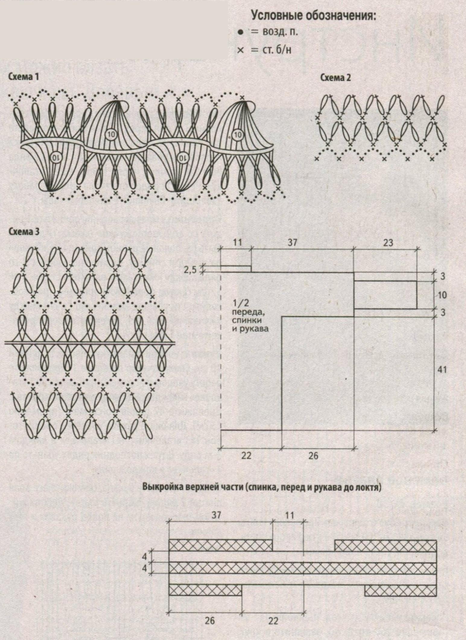 Ажурный пуловер связанный на вилке схема