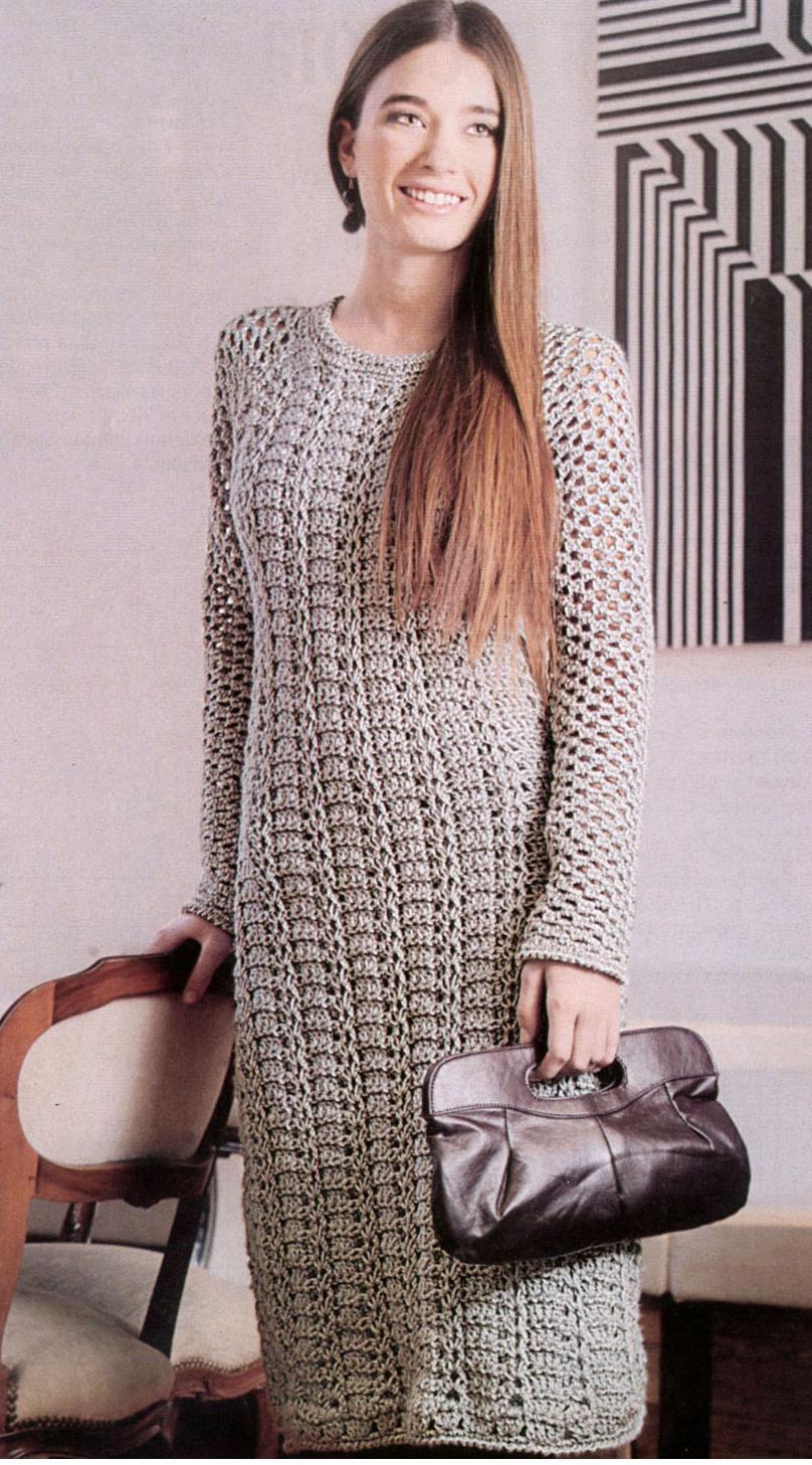 Элегантное платье вязаное крючком