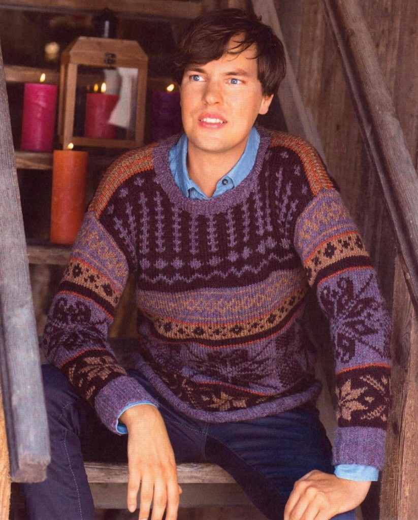 Мужской пуловер с норвежским узором спицами