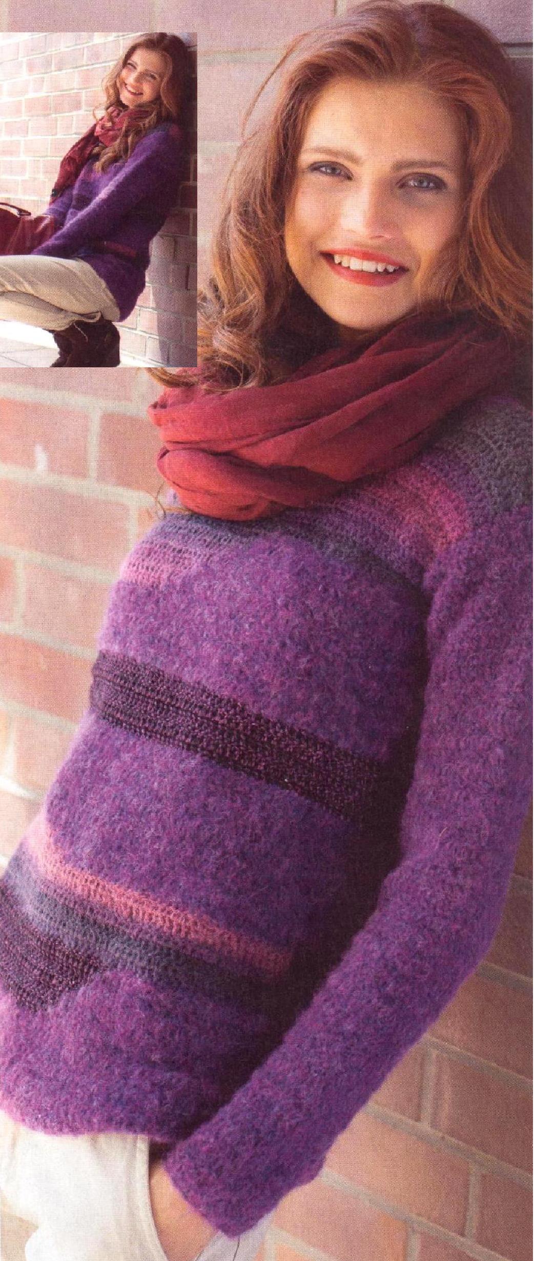 Пуловер для начинающих рукодельниц вязаный крючком