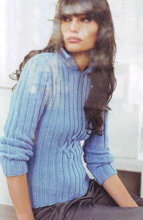 Пуловер из мериносовой шерсти вязаный спицами