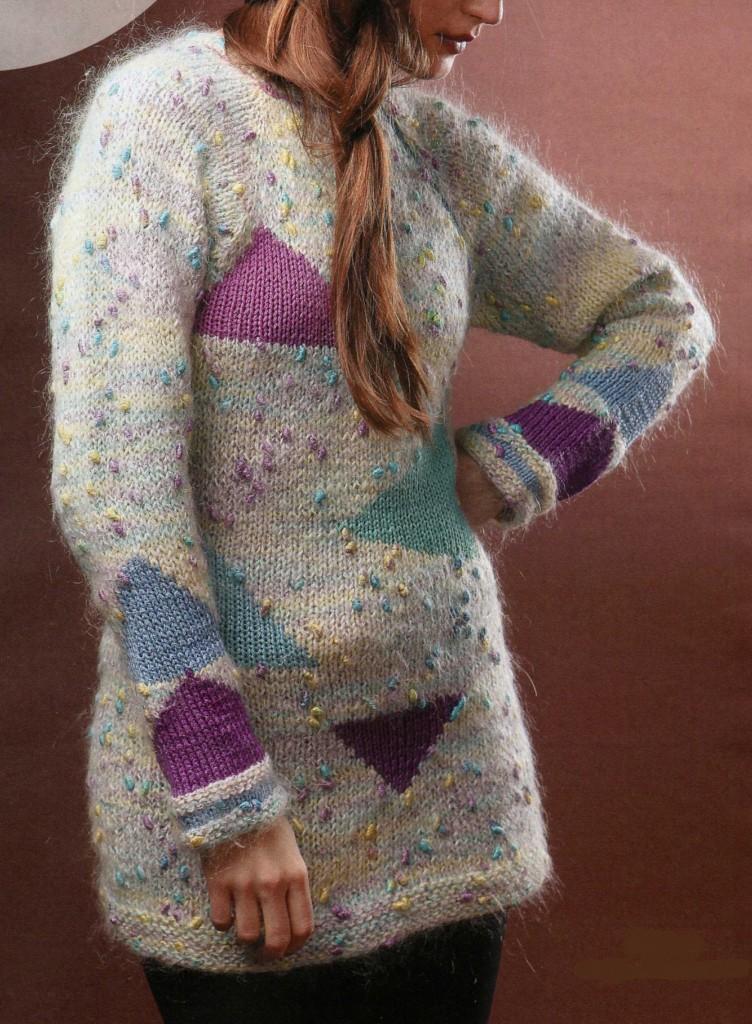 Пуловер с треугольниками связанный спицами
