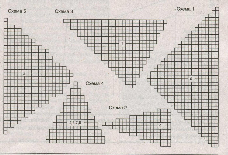 Пуловер с треугольниками вязаный спицами схема