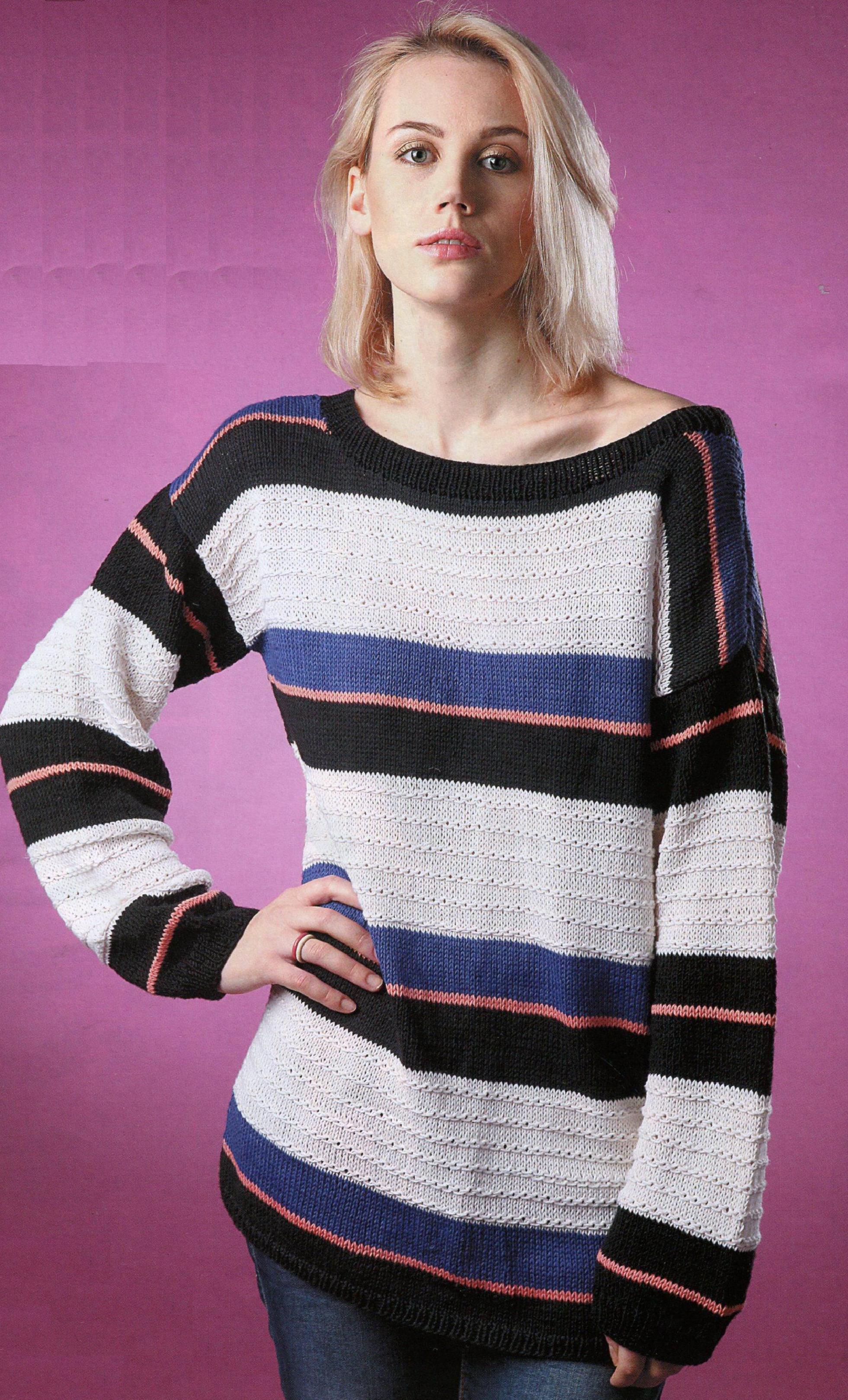 Пуловер свободного силуэта вязаный спицами