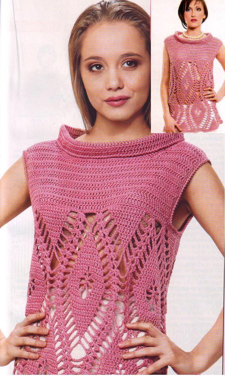 Удлиненный пуловер без рукавов вязаный крючком